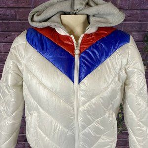 NEW LOOK Small Puffer Coat  red white blue with fl